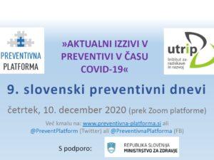 """9. slovenski preventivni dnevi """"»AKTUALNI IZZIVI V PREVENTIVI V ČASU COVID-19«"""